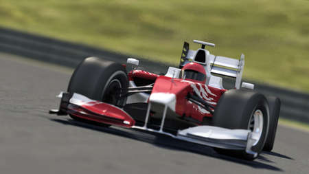one to one: formula one race car on track - high quality 3d rendering - my own car design