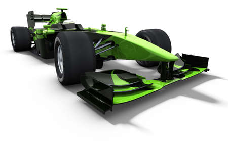 formula one racing: 3d illustrationrendering of a green race car isolated on white - my own car design Stock Photo