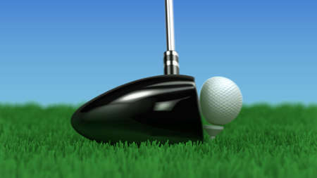 impact: close up of a driver hitting a golf ball - motion frozen in the moment of impact - shallow depth of field - 3d rendering Stock Photo