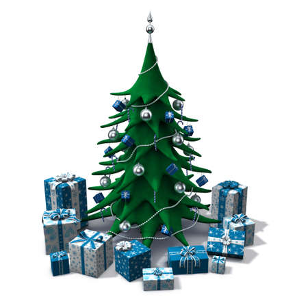 3d renderingillustration of a stylized christmas tree with presents around it illustration