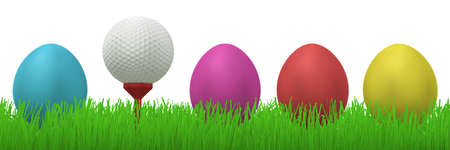 turqoise: 3d illustration of a golfball on a red tee between four colorful easter eggs  in grass Stock Photo