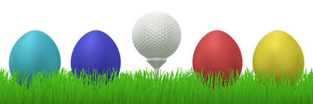 between: 3d illustration of a golfball on a tee between four colorful easter eggs  in grass