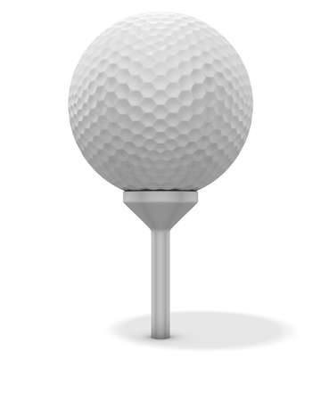 3d renderingillustration of a golf ball on a red tee. Clipping path included illustration