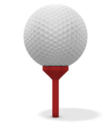 tee: 3d renderingillustration of a golf ball on a red tee. Clipping path included