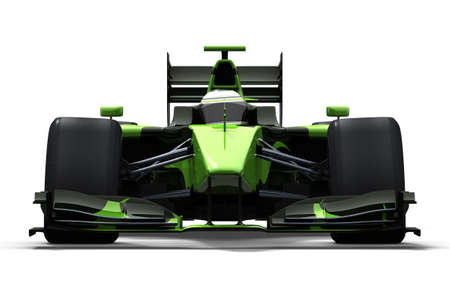 formula one: 3d illustrationrendering of a green race car isolated on white - my own car design Stock Photo