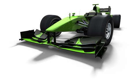 motor race: 3D illustratieweergave van een groene raceauto geïsoleerd op wit - mijn eigen auto-ontwerp  Stockfoto