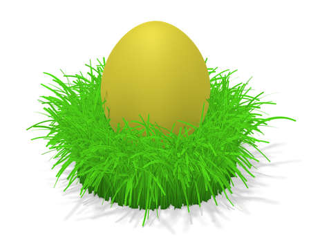 tuft: 3d illustration of a yellow easter egg in a tuft of grass Stock Photo