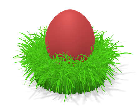 tuft: 3d illustration of a red easter egg in a tuft of grass