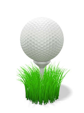 3d renderingillustration of a golf ball on tee with grass illustration