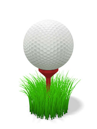 3d renderingillustration of a golf ball on a red tee with grass illustration
