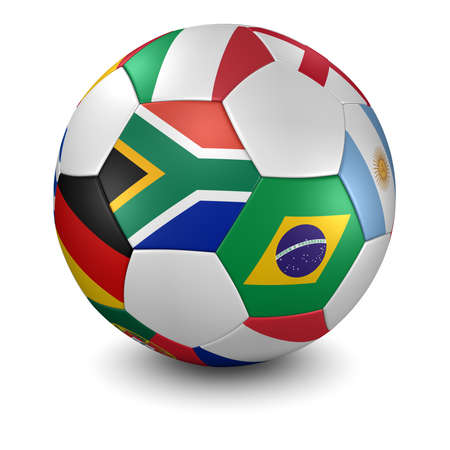 3d renderillustration of a soccer ball with national flags - south african flag in front - clipping path included Stock Photo