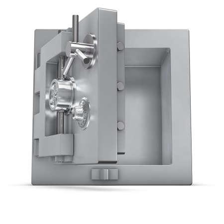 3d rendering of a bank safe with open door