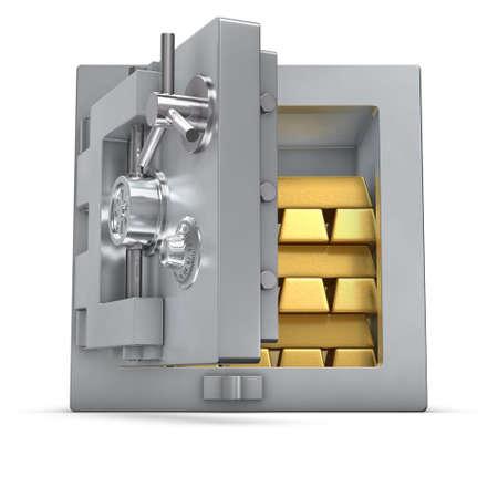caja fuerte: representaci�n 3D de un seguro de banco abierto lleno de barras de oro Foto de archivo