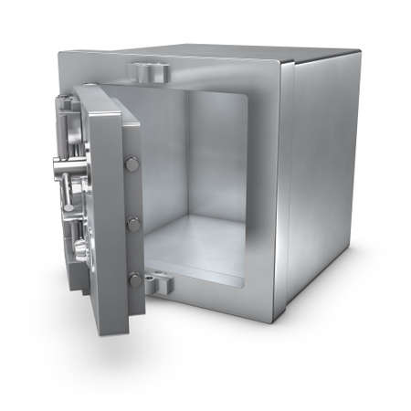 vaulted door: 3d rendering of a bank safe with open door