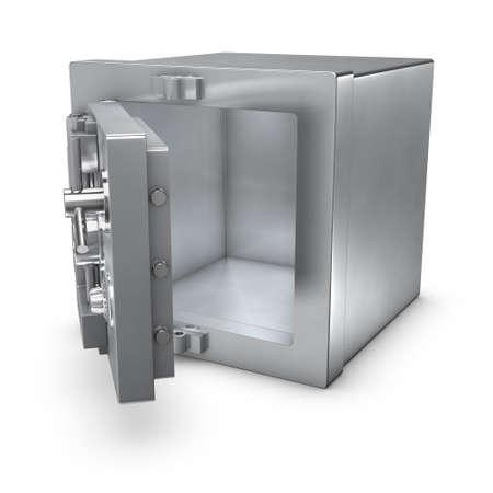 3D-weergave van een bank kluis met open deur