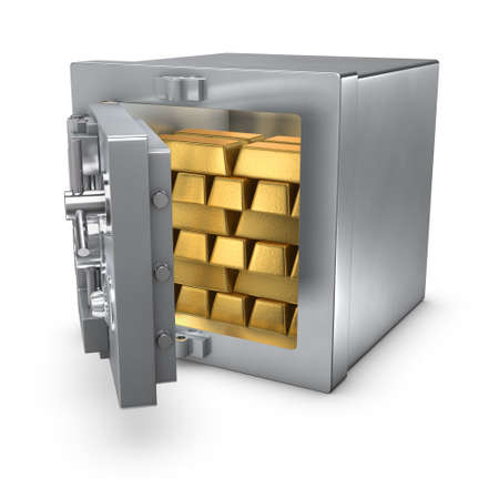 3d rendering of an open bank safe filled with gold bars photo