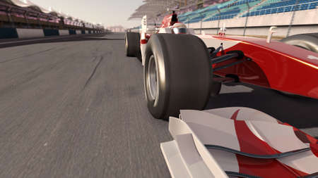 speed race: high quality 3d rendering of a formula race car on track