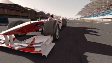 car racing: high quality 3d rendering of a formula race car on track