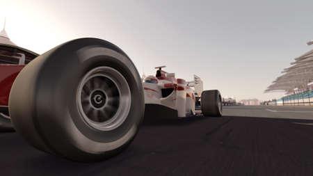 motor race: 3D-weergave hoogwaardige van een formule een racewagen op weg