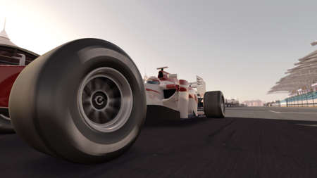 one to one: high quality 3d rendering of a formula race car on track