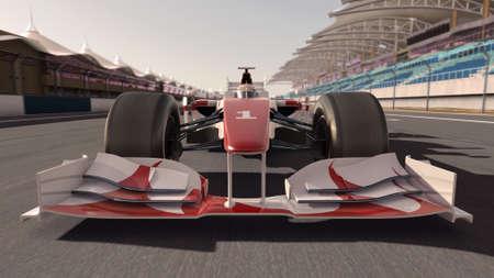 motor race: 3D-weergave van hoge kwaliteit van een formule een racewagen op weg - eigen auto ontwerp - geen inbreuk auteursrechthandels merk