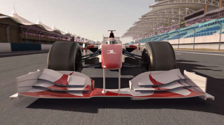 motorsports: high quality 3d rendering of a formula race car on track