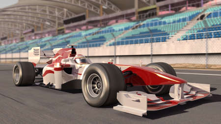 high quality 3d rendering of a formula race car on track photo