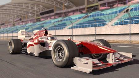 motor race: hoge kwaliteit 3D-weergave van een formule een raceauto op weg