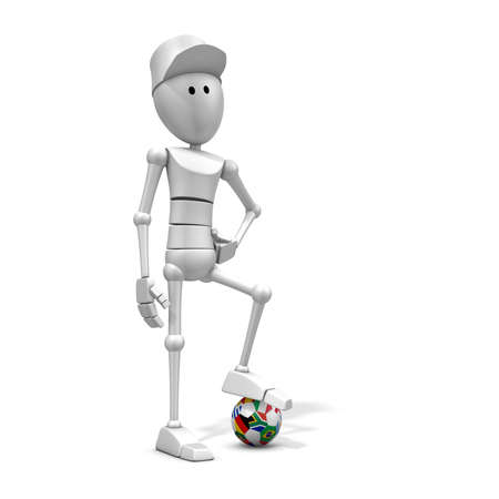 3d illustrationrendering of a soccer player with world cup 2010 ball with national flags illustration