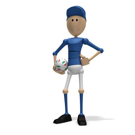 multi national: 3d illustrationrendering of an italian soccer player