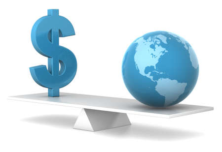 dollar and earth in balance - financial concept photo