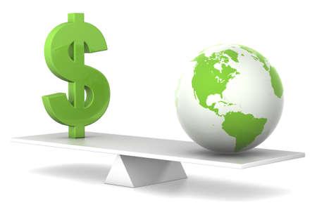 balanza en equilibrio: d�lar y de la tierra en concepto de dinero de equilibrio - verde