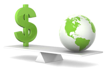 balance concept: dollar and earth in balance - green money concept