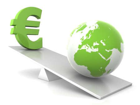 euro and earth balance - green money concept photo