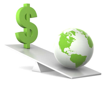 global currencies: dollar and earth balance - green money concept