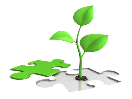 successful leadership: jigsaw puzzle with sprout - growth concept