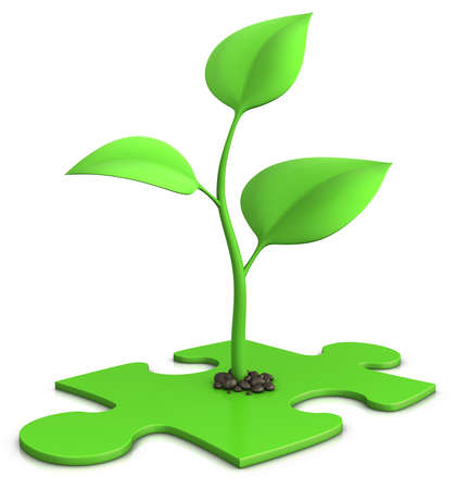 sprout on jigsaw puzzle - growth concept Stock Photo - 6924620