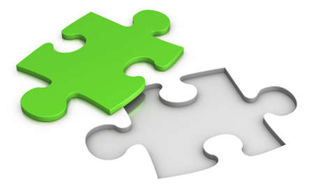 fitting: green jigsaw puzzle - isolated on white - solution concept Stock Photo