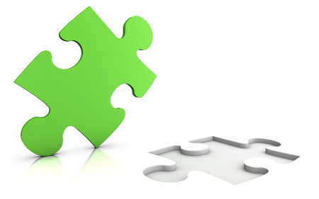 one piece: green jigsaw puzzle - isolated on white - solution concept Stock Photo
