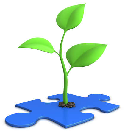 sprout on blue jigsaw puzzle - growth concept
