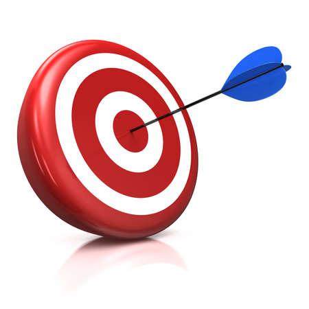 flecha derecha: Ilustraci�nprocesamiento 3D de un destino con una flecha azul atascado justo en el centro