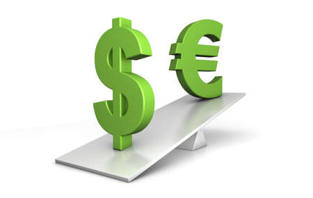 3d illustration of dollar and euro out of balance - dollar is clearly in advantage - financial concept illustration