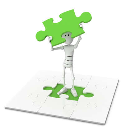 incomplete: 3d character stands in the middle of a jigsaw puzzle and holds the last  piece high above his head - 3d illustrationrender Stock Photo