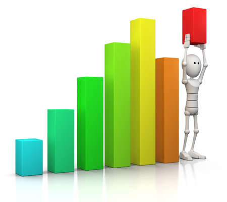 3d character stands in a bar chart and raises the last bar above all others - 3d illustrationrender illustration