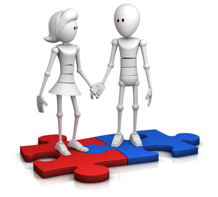 a couple standing on two connected jigsaw pieces and holding hands - 3d illustrationrender illustration