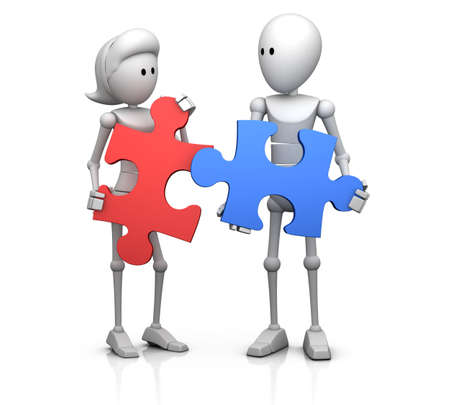 male and female 3d character holding two matching jigsaw pieces in their hands - 3d illustrationrender illustration
