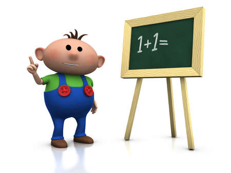 3d rendering/illustration of a cute cartoon boy in front of a blackboard raising his hand Banque d'images - 7258910