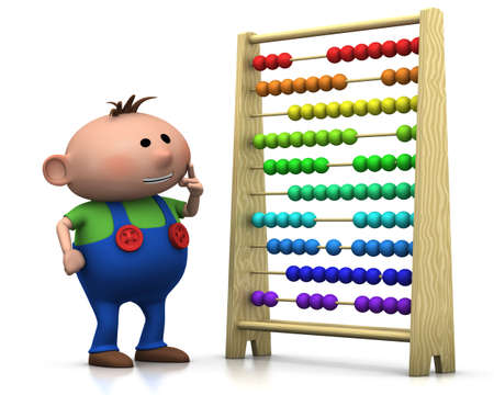 wooden figure: 3d renderingillustration of a cute cartoon boy standing in front of an abacus