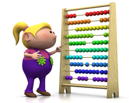 standing on white background: 3d renderingillustration of a cute cartoon girl pointing at an abacus Stock Photo