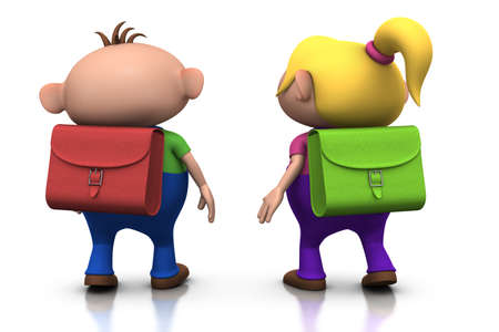 first day of school: cute cartoony boy and girl with schoolbags on their back walking away - back to school concept - 3d renderingillustration Stock Photo